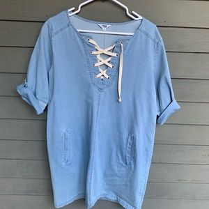 Denim Dress sz sm by Jack Front criss cross ties
